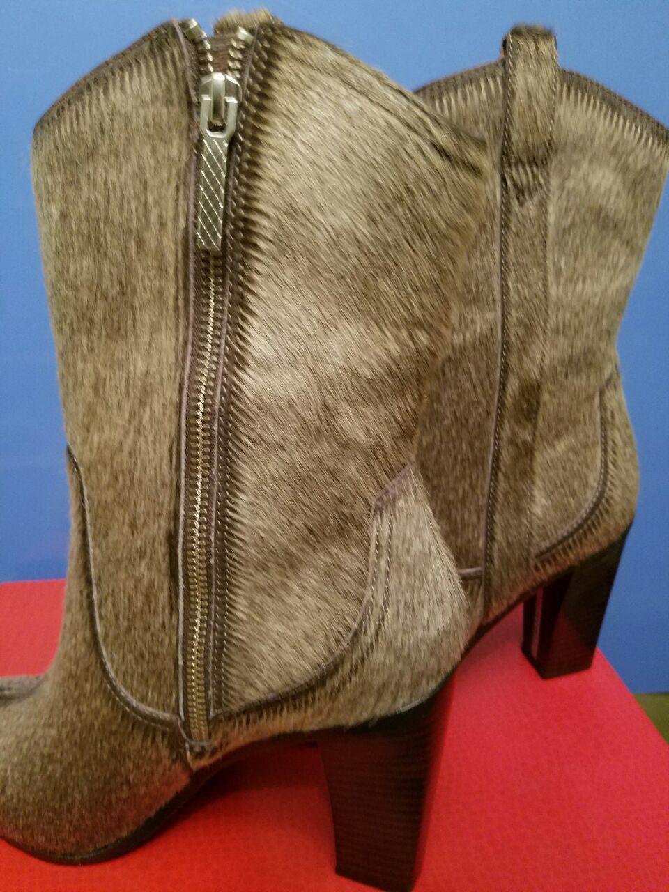 NIB Donald J Pliner Olivia Olivia Olivia ZJ Taupe Cowboy Haircalf Leather Boots 8M 8.5M  398 b39b96