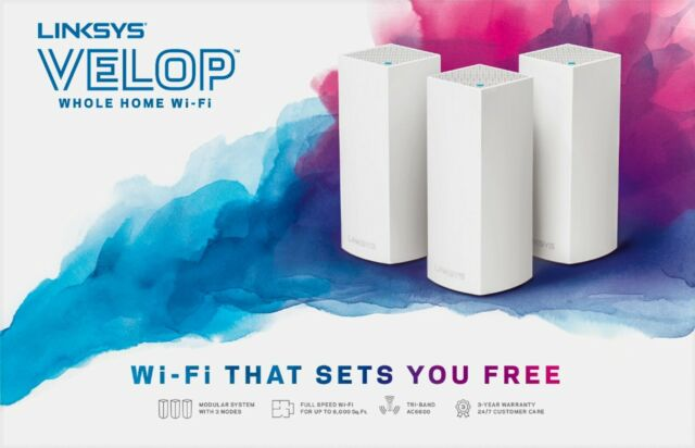 LinkSys Velop Whole Home WiFi AC2200 WAN/LAN Tri-Band Series WHW03 V2 - (3 Pack)