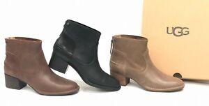 a4d9b9773ba Details about UGG Australia Bandara Ankle Bootie Leather Black Sahara  Coconut Shell 1098310