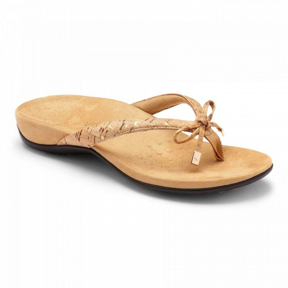 damen Vionic Bella II Toe Post Orthotic Arch Support Flip Flop Sandal Gold Cork
