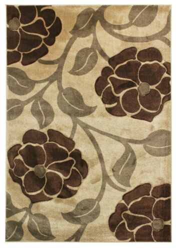 VINE CLASSIC FLOWER AND STEM HAND CARVED FRISE PILE BEIGE BROWN  IN VARIOUS SIZE