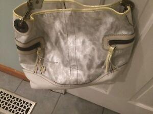 New-Coach-White-Silver-Tie-Dye-Metallic-Signature-Shoulder-Tote-handbag