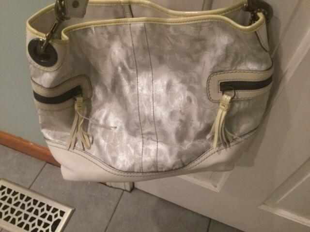 New Coach White/ Silver Tie Dye Metallic Signature Shoulder Tote handbag