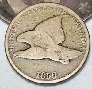 1858-Flying-Eagle-Cent-One-Penny-1C-Small-Letters-Civil-War-Era-US-Coin-CC4816