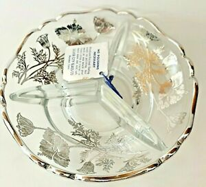 Vintage-Silver-City-Glass-Three-Section-Crystal-Candy-Dish-WITH-TAG-Hand-Etched