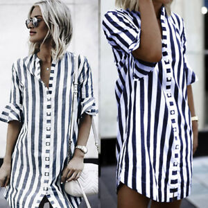 Plus-Size-Womens-Ladies-Horn-Sleeve-Striped-Half-Sleeve-Blouse-Tops-Long-Shirt