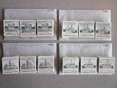 Full Set #1779-1782 American Architecture Issues x 100 Used US Stamps of Each Issue