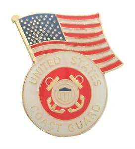 United States Coast Guard USCG under USA Flag Pin Badge LAST ONE