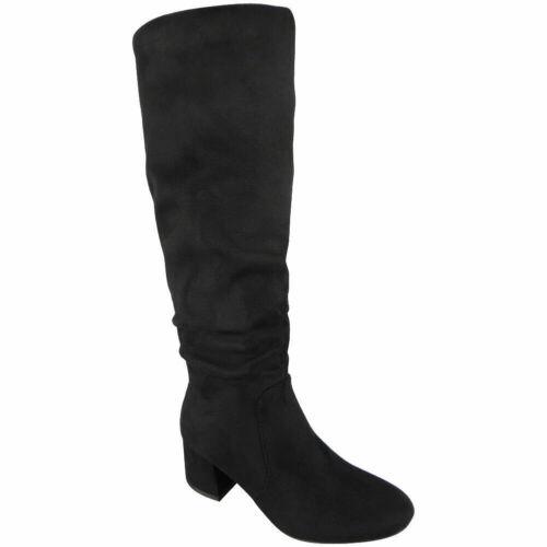 Débardeur Femme Mi-Mollet Décontracté Fermeture Éclair Chaud Hiver Doublé Talon Confortable Chaussures Taille