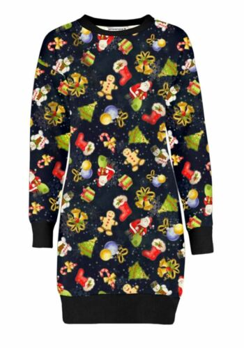 New Ladies Merry Xmas Santa Hugs Xmas Fleece Novelty Long Jumper Shift Dress