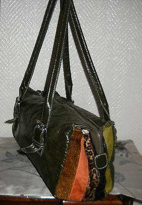 GERRY WEBER Tasche Shopper Bag Henkel grün oliv h m Leo Wildleder Applikationen