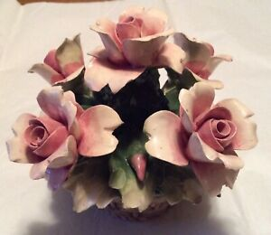 Vintage-Capodimonte-Pink-Roses-Flower-Basket-Made-in-Italy-Porcelain