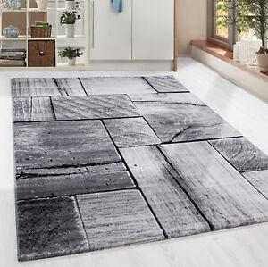Moderner-Design-Holzstrucktur-Teppich-Kurzflor-Wohnzimmer-Schwarz-Grau-meliert