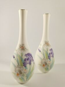 "Vintage Otagiri Japan Bud Vase Set of 2.  Hand Painted.  7.5"" tall"