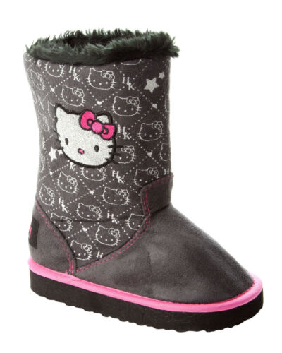 GIRLS OFFICIAL HELLO KITTY BLACK GLITTER FUR WARM WINTER BOOTS UK SIZE 6-12