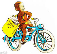 """5"""" CURIOUS GEORGE MONKEY BICYCLE  CHARACTER WALL SAFE STICKER BORDER CUT OUT"""