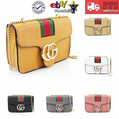 New Womens Two Compartments Messenger Handbag Metal Badge Shoulder Crossbody Bag