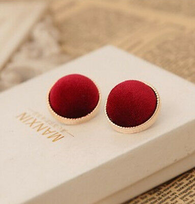 Fashion Women Lady Round Velvet Gold Plated Charms Ear Studs Earrings Jewelry