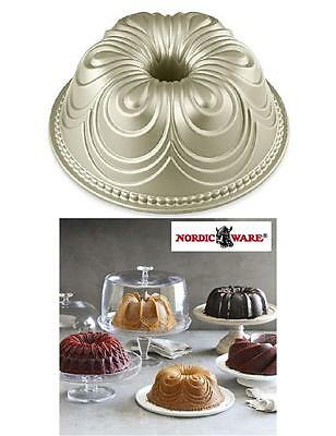 NORDICWARE 9 1/2 CHIFFON BUNDT Cake Pan SCULPTED Drapes HEAVY Cast 10 Cup *New