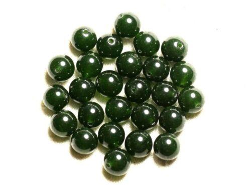 10pc Jade Boules 10mm Vert foncé Olive  4558550008800 Perles de Pierre