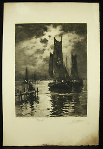 Sailboats-La-Dark-Choose-Wetting-1913-Antoine-Jean-Delzers-Ap-Georges-P