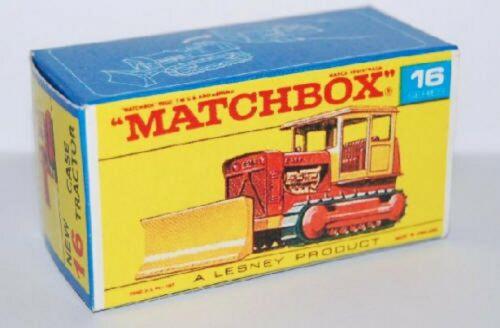 Matchbox Lesney No 16 Case Tractor empty Repro Box style D