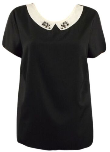 New C/&A Ladies Black Short Sleeve Scoop Neck Party Top Size 8-18 silky