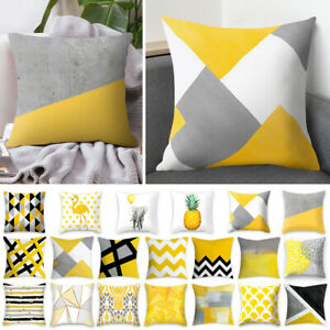 Details About 1x Scandi Boho Geometric Cushion Mustard Yellow And Grey Sofa Case Cover Uk