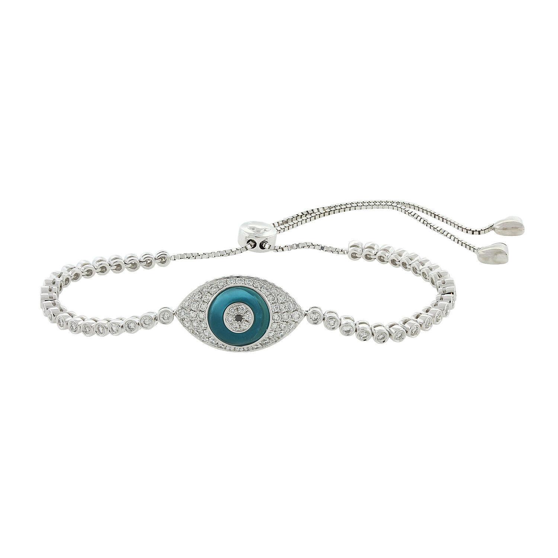 Round Diamond Evil Eye Bracelet 18K White gold 1.64ctw