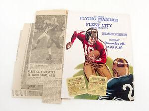 El-Toro-Flying-Marines-VS-Fleet-City-Blue-Jackets-1945-Football-Program-Tickets