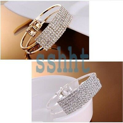 Womens Elegant Crystal Wristband Bangle Cuff Bracelet Bling Hand Chain NEW