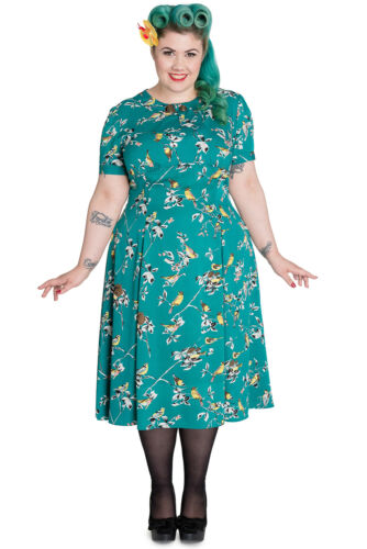 Hell Bunny Plus 60/'s Vintage Style Nature Love Bird Print Lovely Tea Dress