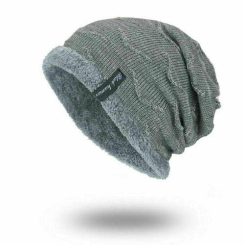 Gray Winter Beanies Slouchy Chunky Hat for Men Women Warm Soft Skull Knitting