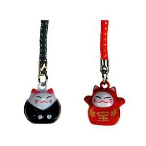 set of 2 lucky cat bell charm black maneki neko mobile