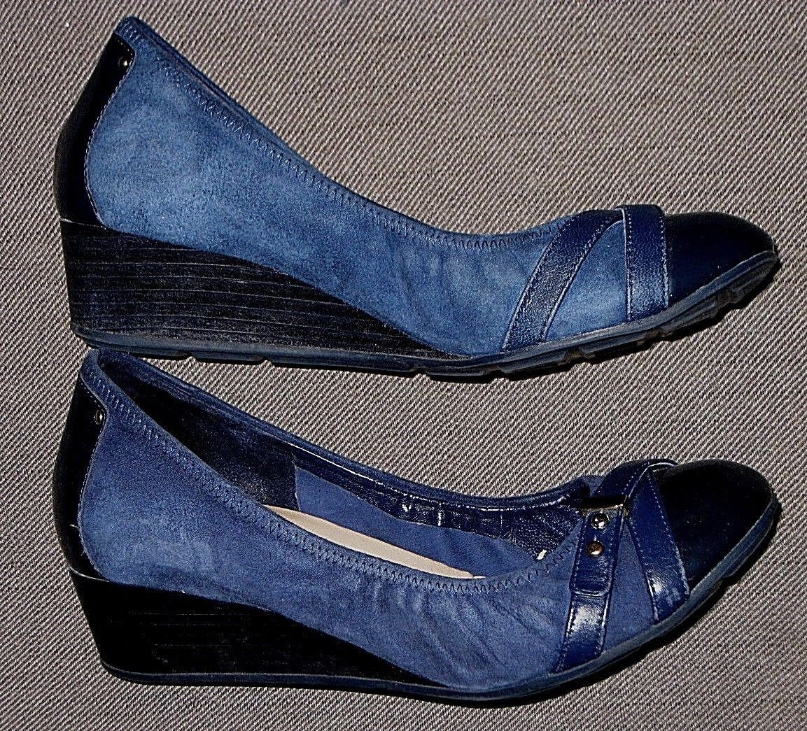 COLE HAAN blueE SUEDE LEATHER STRETCH WEDGE PUMPS SHOES, SIZE 6