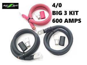 4//0 Gauge AWG Big 3 Upgrade RED//BLACK Electrical Wiring 600 AMPS USA MADE