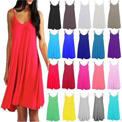 Womens Ladies /& Girls Sleeveless Plain Strappy Cami Swing Dress Long Top TShirt