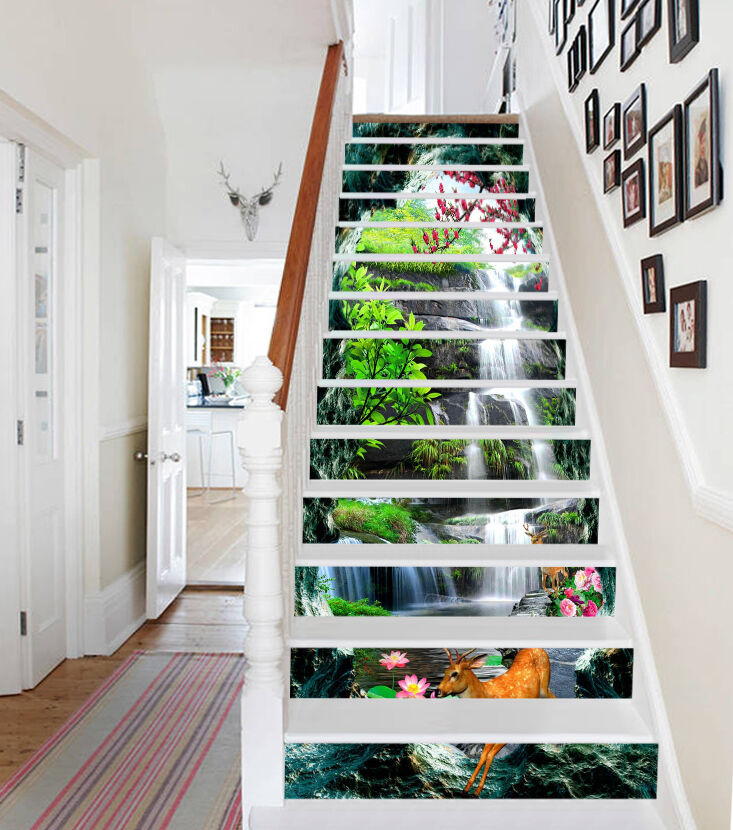 3D Stream Animals 4 Stair Risers Decoration Photo Mural Vinyl Decal Wallpaper AU
