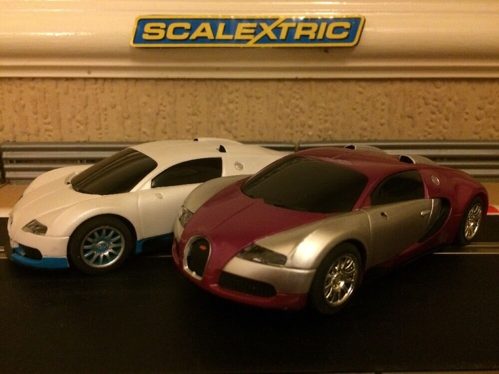Scalextric x2 Bugatti Veyron Fully Serviced & New Braids Fitted