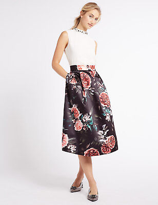 Marks /& Spencer Navy /& Bold Orange Floral Stretchy Flippy Skirt