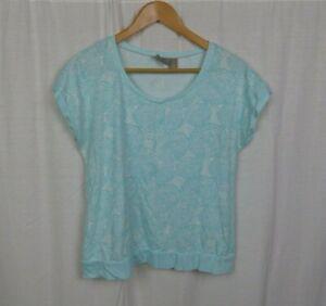 Chico-039-s-Women-039-s-Printed-Short-Sleeve-Shirt-Blue-White-Cotton-Blend-Size-1-Medium