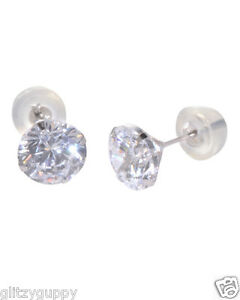 b24361aaf 14k White Gold Clear CZ Stud Earrings Silicone Pushbacks round prong ...