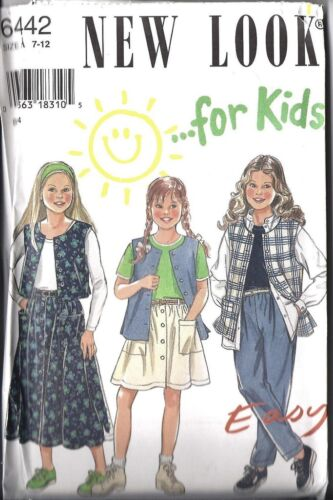 6442 Vintage UNCUT New Look SEWING Pattern Little Girls Vest Skirt Pants 7-12