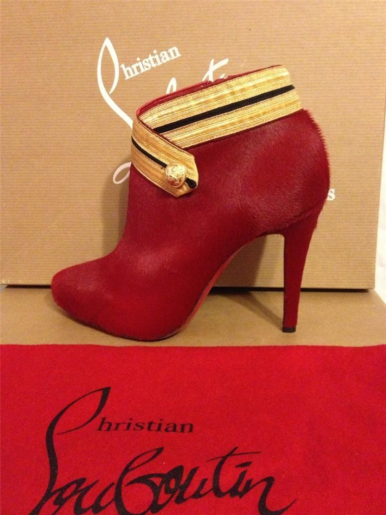 Christian Louboutin MARYCHAL Stiefel rot Pony Hair Ankle Stiefelies Stiefel MARYCHAL Heels 36.5  1495 a4fa9f