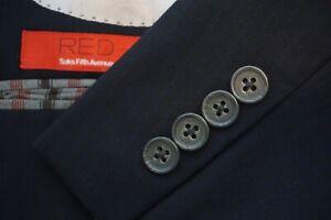 Saks-Fifth-Avenue-Red-Blue-Black-Grid-Pattern-Extra-Trim-Fit-2-Pc-Suit-Sz-40R
