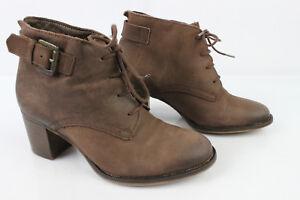 3187e19a65ce81 Bottines Boots à Lacets ANDRE Cuir Nubuck Marron T 35 BON ETAT | eBay