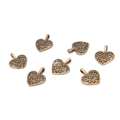 50 Pcs Tibetan Silver Bronze Filigree Heart Charms Pendants DIY Jewelry Making