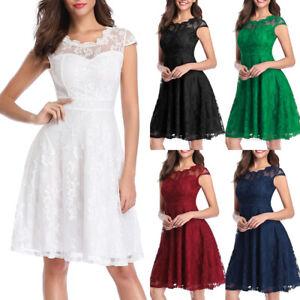 Women-039-s-Vintage-Floral-Lace-Cap-Sleeve-Fit-Flare-Elegant-Cocktail-Party-Dresses