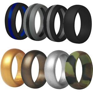 TRAININGEAR-Silicone-Wedding-Band-Ring-Men-Black-Camo-Gray-Safe-Flexible-Rings