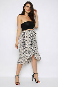 On Clearance compare price professional design Details about WHITE SNAKESKIN WRAP FRILL MIDI SKIRT